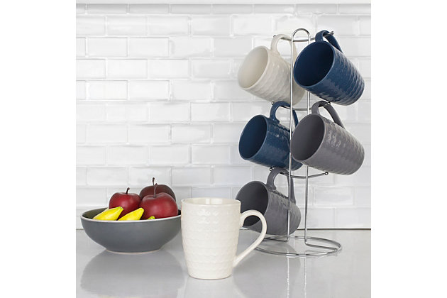 Home Accents 6-Piece Diamond Mug Set with Stand, , large