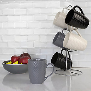 Home Accents 6-Piece Crochet Mug Set with Stand, , rollover