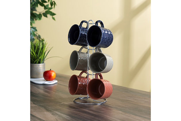 Home Accents Chequer 6 Piece Mug Set with Stand, , large