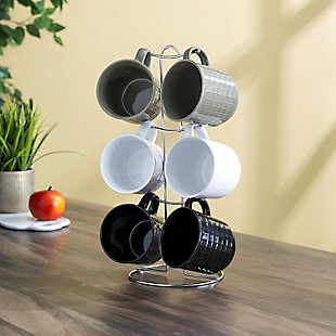 Home Accents Pinstripe 6 Piece Mug Set with Stand, Multi-Color, , rollover