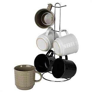 Home Accents Pinstripe 6 Piece Mug Set with Stand, Multi-Color, , large