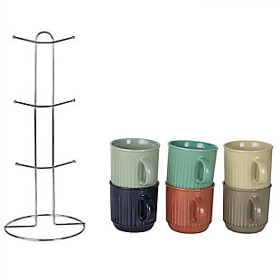 Home Accents Pinstripe 6-Piece Mug Set with Stand, , large