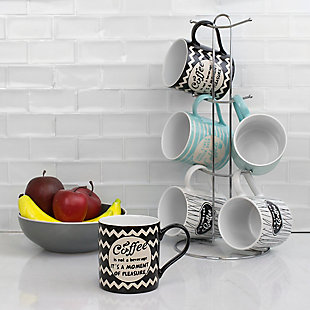Home Accents It's Coffee Time 6-Piece Mug Set with Stand, , rollover