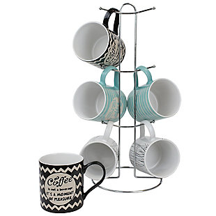 Home Accents It's Coffee Time 6-Piece Mug Set with Stand, , large