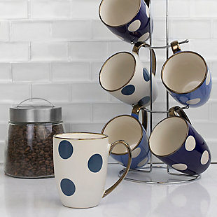 Home Accents 6-Piece Polka Dot Mug Set with Stand, , rollover