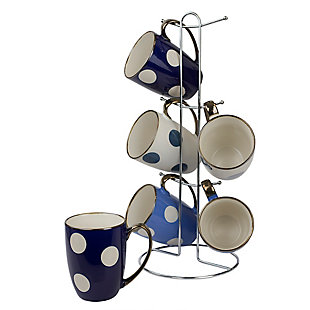 Home Accents 6-Piece Polka Dot Mug Set with Stand, , large