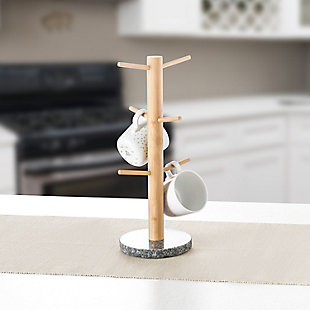 Home Accents 6-Mug Bamboo Tree Holder Stand with Black Granite Base, , rollover