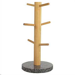 Home Accents 6-Mug Bamboo Tree Holder Stand with Black Granite Base, , large