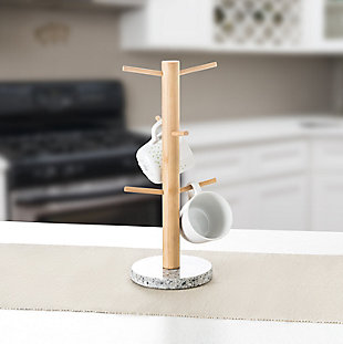 Home Accents 6 Cup Bamboo Mug Tree Holder Stand with Granite Base, White, , rollover