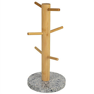 Home Accents 6 Cup Bamboo Mug Tree Holder Stand with Granite Base, White, , large