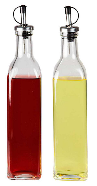 Home Accents Leak Proof Easy Pour Oil and Vinegar Bottle - Set of 2, , large