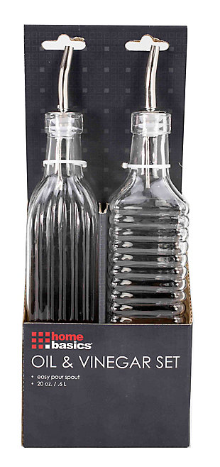 Home Accents Easy Grip Ribbed Textured Glass Oil and Vinegar - Set of 2, , large
