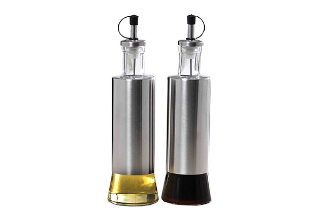 Home Accents Essence Collection 2- Piece Oil & Vinegar Set, Clear, large