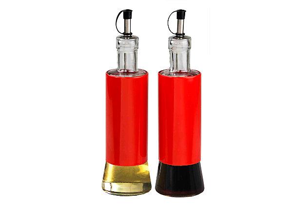 Home Accents Essence Collection 2 Piece Oil & Vinegar Set, Orange, large