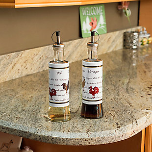 Home Accents Country Rooster 2- Piece Stainless Steel Oil and Vinegar Set, , rollover