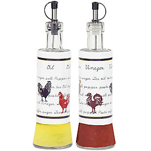 Home Accents Country Rooster 2- Piece Stainless Steel Oil and Vinegar Set, , large