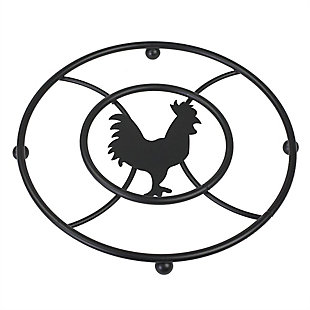 Home Accents Rooster Series Trivet, Black, , large