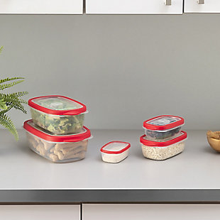 Home Accents 5 Piece Spill-Proof  Rectangle Plastic Food Storage  Container with Ventilated, Snap-On  Lids, Red, , rollover