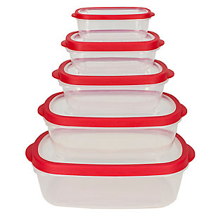 Home Accents 5 Piece Spill-Proof  Rectangle Plastic Food Storage  Container with Ventilated, Snap-On  Lids, Red, , large