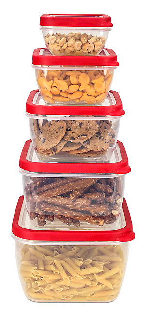 Home Accents 5 Piece Spill-Proof Square Plastic Food Storage Container with Ventilated, Snap-On Lids, Red, , large