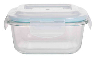 Home Accents 17 oz. Square Borosilicate Glass Food Storage Container, , large