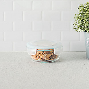 Home Accents 13 oz. Round Borosilicate Glass Food Storage Container, , rollover
