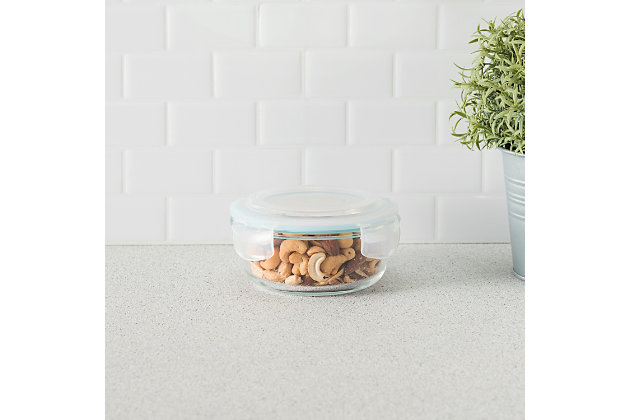 Home Accents 13 oz. Round Borosilicate Glass Food Storage Container, , large