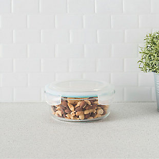 Home Accents 32 oz. Round Borosilicate Glass Food Storage Container, , rollover