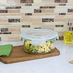 Home Accents 59 oz. Round Borosilicate Glass Food Storage Container with  Leak-Proof and Air-Tight Plastic Locking Lid, , rollover