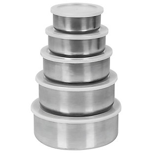 Home Accents Brushed Stainless Steel Food Storage Container Set, (Set of 5), Silver, , large