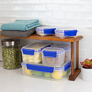 Home Accents Plastic Food Storage Containers with Snap-Tight Lids, (Set of 12), Blue, , rollover