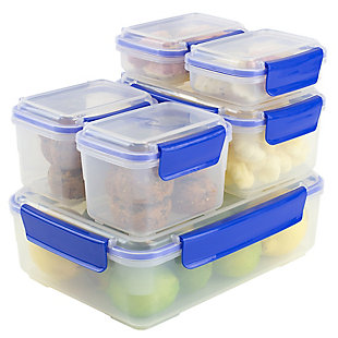 Home Accents Plastic Food Storage Containers with Snap-Tight Lids, (Set of 12), Blue, , large