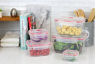 Home Accents 10 Piece Locking  Storage Rectangle Plastic Food Storage Containers with Ventilated Snap-On Lids, Red, , rollover