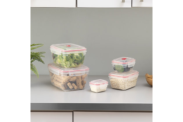 Home Accents 10 Piece Locking Square Plastic Food Storage Containers with Ventilated Snap-On Lids, Red, , large