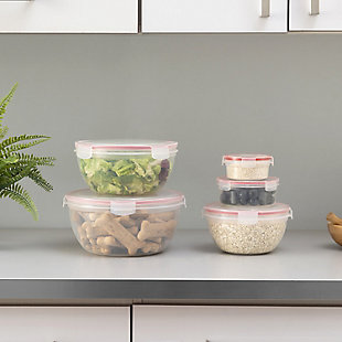 Home Accents 10 Piece Locking Round Plastic Food Storage Containers with Snap-On Lids, Red, , rollover