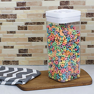 Home Accents 3.1 Liter Twist 'N Lock Air-Tight Square Plastic Canister, White, , rollover