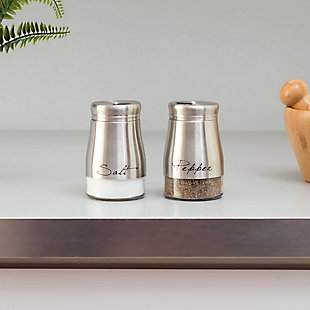 Home Accents 5 oz. Salt and Pepper Set with See-Through Glass Base, Silver, , rollover