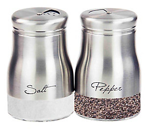 Home Accents 5 oz. Salt and Pepper Set with See-Through Glass Base, Silver, , large