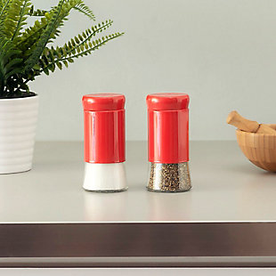 Home Accents Essence Collection 2 Piece Salt and Pepper Set, Red, rollover