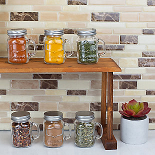 Home Accents 6 Piece Glass Spice and Seasoning Jar Set with Clear Shaker Top and Handle, Clear, , rollover