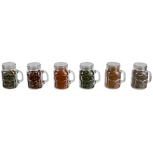 Home Accents 6 Piece Glass Spice and Seasoning Jar Set with Clear Shaker Top and Handle, Clear, , large