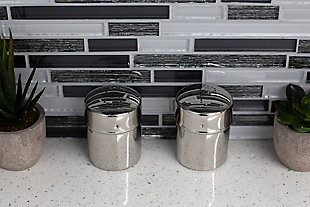 Home Accents 5 oz. Stainless Steel Salt and Pepper Set with Perforated Labeled Sifter Top, (Set of 2), Silver, , rollover