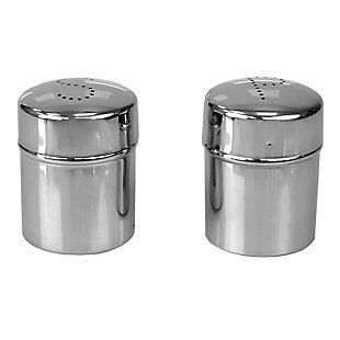 Home Accents 5 oz. Stainless Steel Salt and Pepper Set with Perforated Labeled Sifter Top, (Set of 2), Silver, , large