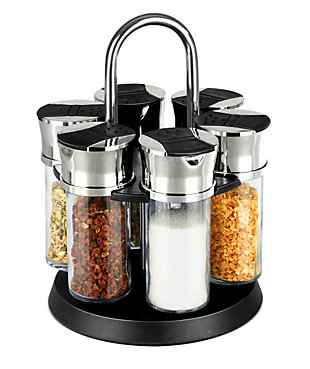 Home Accents Compact Carousel 6-Jar Spice Rack with Steel Carrying Handle, Black, , large