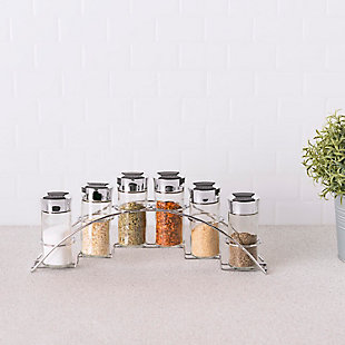 Home Accents Ultra Sleek Half Moon Steel Seasoning and Herbs Organizing Spice Rack with 6 Empty Glass Spice Jars, Chrome, , rollover