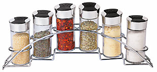 Home Accents Ultra Sleek Half Moon Steel Seasoning and Herbs Organizing Spice Rack with 6 Empty Glass Spice Jars, Chrome, , large