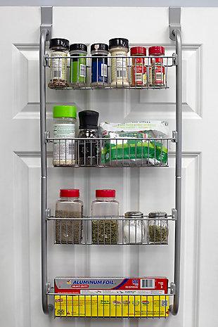 Home Basics Heavy Duty 4 Tier Over the Door Metal Pantry Organizer, Gray, , rollover