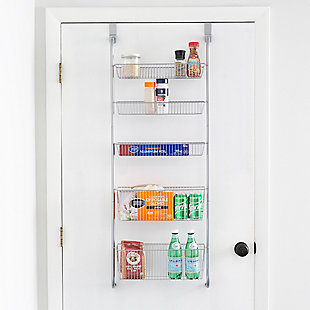 Home Basics Over the Door Kitchen Pantry Organizer, Gray, , rollover