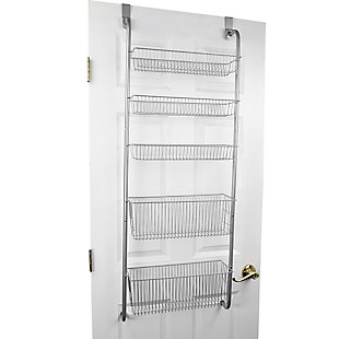Home Basics Over the Door Kitchen Pantry Organizer, Gray, , large