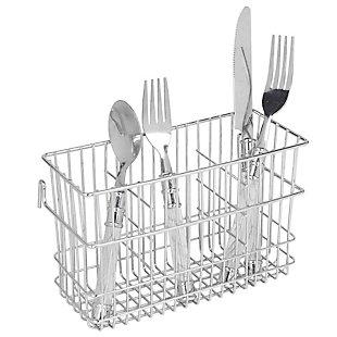 Home Basics 3 Slot Hanging Chrome Plated Steel Cutlery Drying Rack Basket Holder, , rollover